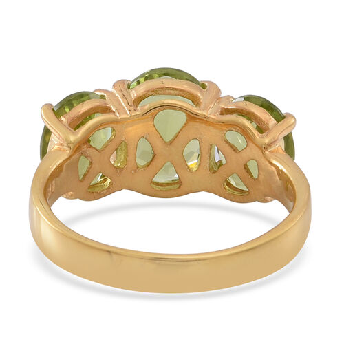 AA Hebei Peridot (Ovl 2.75 Ct) 3 Stone Ring in Yellow Gold Overlay Sterling Silver 6.750 Ct.