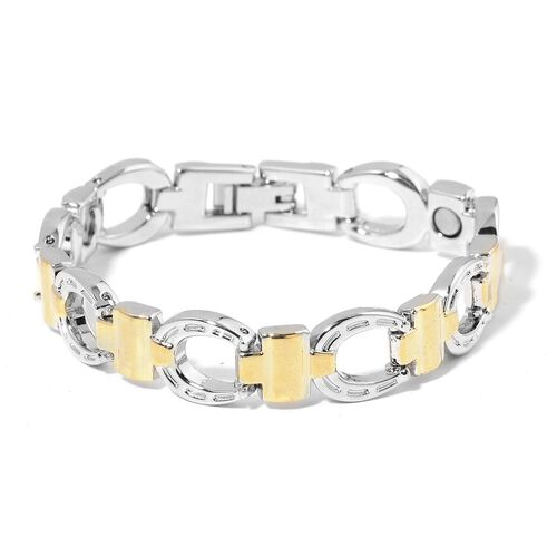 Horse Shoe and Cross Bracelet (Size 7.75) in Yellow Gold and Silver Tone