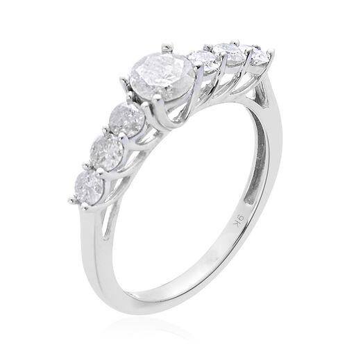 9K White Gold SGL Certified Diamond (Rnd 0.47 Ct) (I3/ G-H) 7 Stone Ring 1.000 Ct.