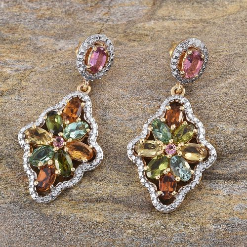 Rainbow Tourmaline (Ovl), Diamond Earrings (with Push Back) in 14K Gold Overlay Sterling Silver 4.250 Ct.