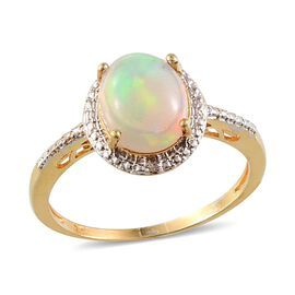 Ethiopian Welo Opal (Ovl 1.33 Ct), Diamond Ring in 14K Gold Overlay Sterling Silver 1.340 Ct.