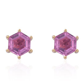 ILIANA 18K Y Gold AAAA Very Rare Pink Sapphire Hexagonal Stud Earrings (with Screw Back) 1.000 Ct.