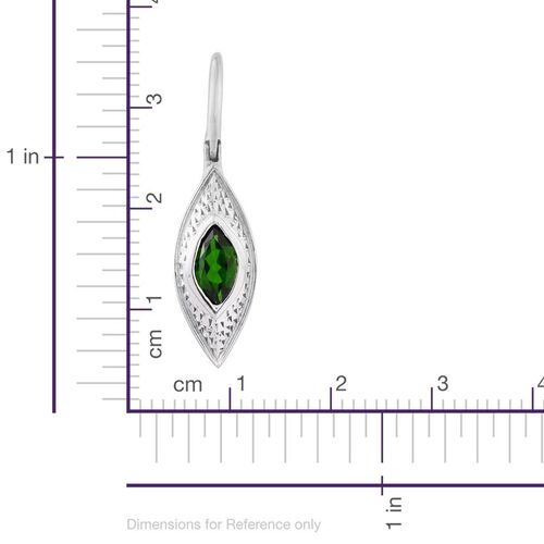 Russian Diopside (Mrq) Hook Earrings in Platinum Overlay Sterling Silver 1.250 Ct.