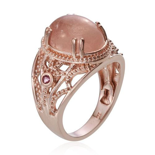 Marropino Morganite (Ovl 5.40 Ct), Mahenge Spinel Ring in Rose Gold Overlay Sterling Silver 5.500 Ct.
