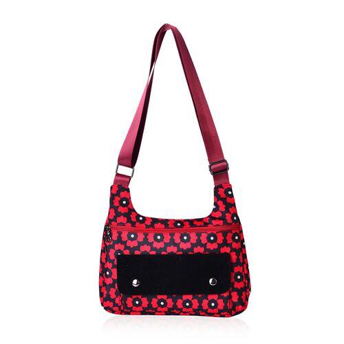 Floral Pattern Water Resistant Crossbody Bag with External Zipper Pocket (Size 28x20x7.5 Cm)