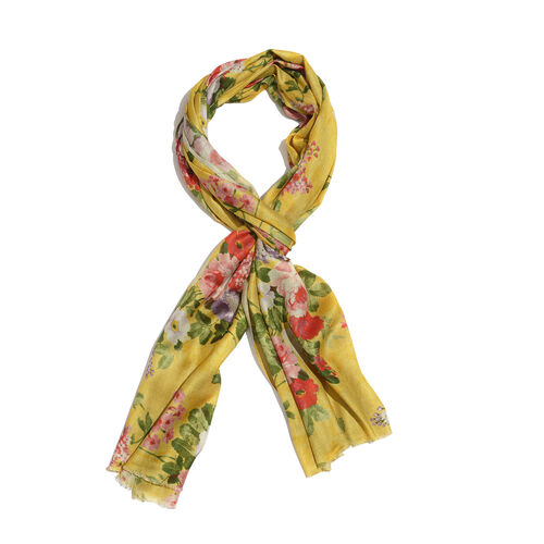 100% Modal Red and Multi Colour Floral Pattern Yellow Colour Scarf (Size 200x70 Cm)