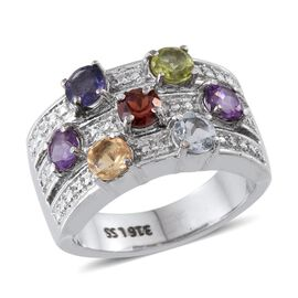 Hebei Peridot (Rnd), Sky Blue Topaz, Amethyst, Citrine, Iolite and Mozambique Garnet Ring in ION Plated Stainless Steel 1.750 Ct.