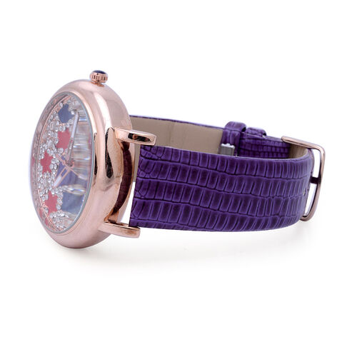 GENOA Japanese Movement Enameled Dial with White Austrian Crystal Water Resistant Watch in ION Plated Rose Gold with Purple Strap