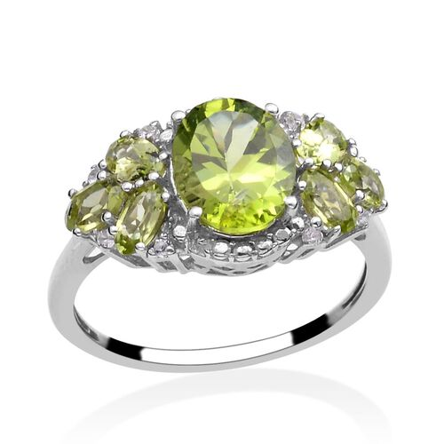 Hebei Peridot (Ovl 2.00 Ct), White Topaz Ring in Platinum Overlay Sterling Silver 3.600 Ct.