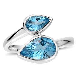 Swiss Blue Topaz (Pear 2.25 Ct) Crossover Ring in Sterling Silver 3.750 Ct.