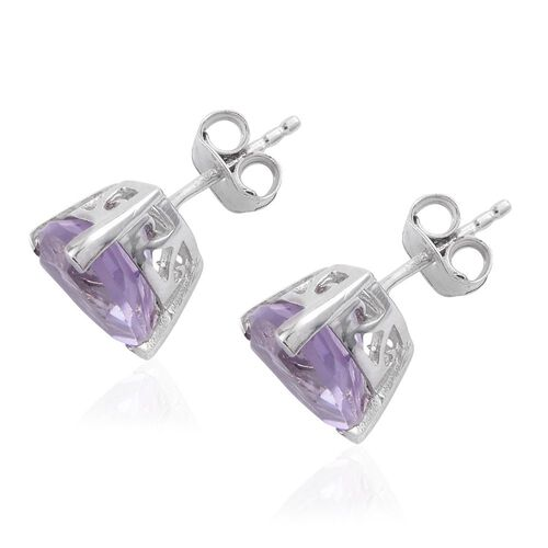 Rose De France Amethyst (Trl) Stud Earrings (with Push Back) in Platinum Overlay Sterling Silver 4.500 Ct.