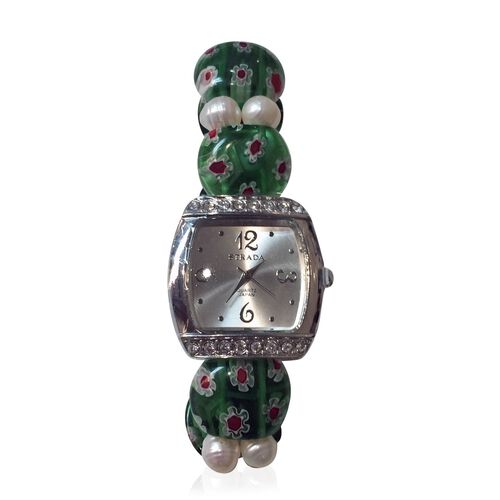 STRADA Japanese Movement White Sunshine Dial with White Austrian Crystal Water Resistant Watch in Silver Tone with Green Murano Glass and Fresh Water White Pearl Strap