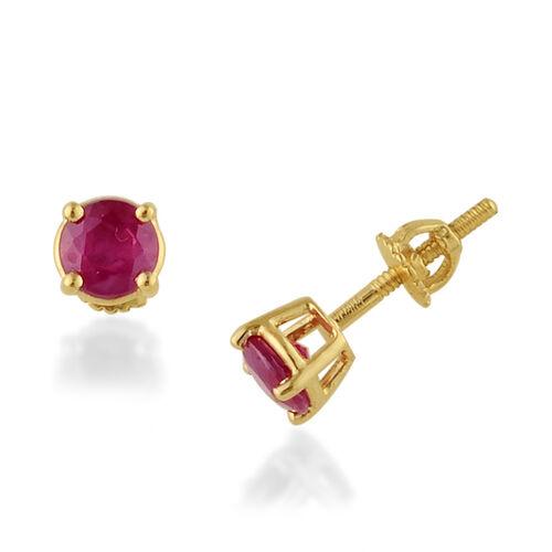 ILIANA Burmese Ruby (2.00 Ct) 18K Y Gold Earring