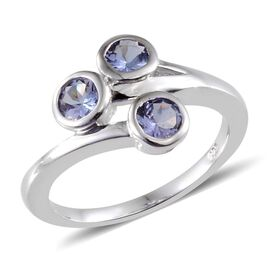 Tanzanite (Rnd) Trilogy Ring in Platinum Overlay Sterling Silver 0.750 Ct.
