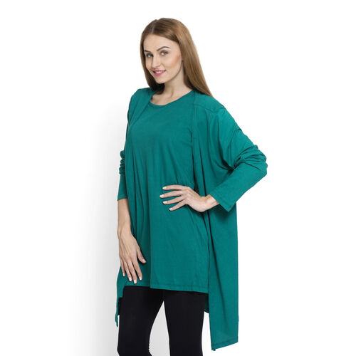 Set of 2 - 100% Cotton Teal Colour Long Sleeve Tank Top (Size Small / Medium)