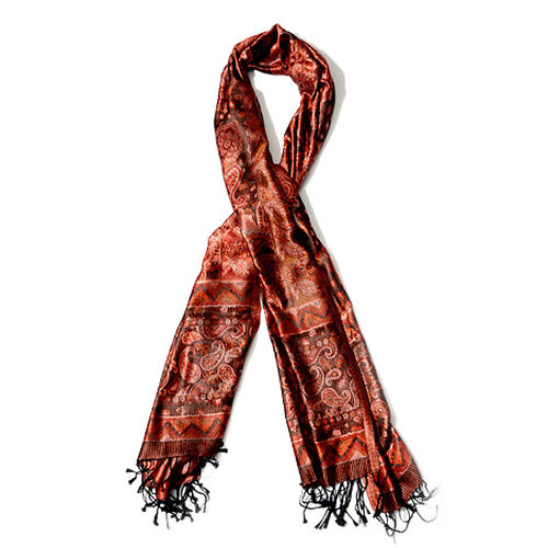 100% Superfine Silk Red and Black Colour Paisley Pattern Jacquard Jamawar Scarf with Fringes (Size 180x70 Cm) (Weight 125 - 140 Grams)