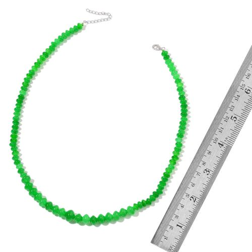Rare Green Jade Necklace (Size 18) in Rhodium Plated Sterling Silver 145.000 Ct.