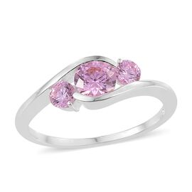 J Francis - Sterling Silver (Rnd) 3 Stone Ring Made with Pink SWAROVSKI ZIRCONIA