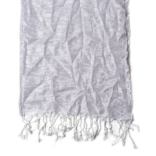 Water Wave Shape White Colour Scarf with Tassels (Size 170x65 Cm)