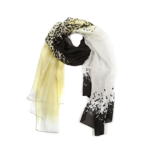 100% Mulberry Silk Yellow, Black and Multi Colour Printed Stole (Size 180x100 Cm)