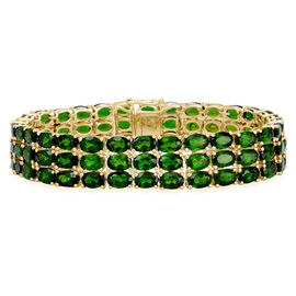 Russian Diopside (Ovl) Bracelet in Yellow Gold Overlay Sterling Silver (Size 7) 43.750 Ct.