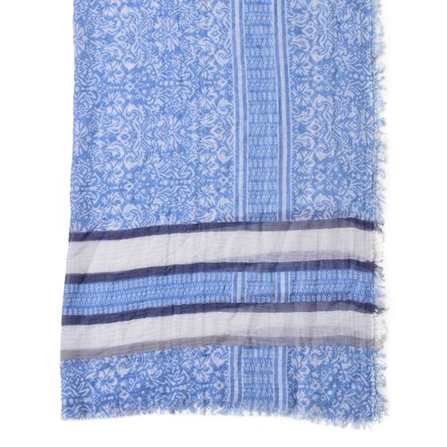 One Time Deal-Blue, White and Multi Colour Stripes Pattern Scarf with Fringes (Size 180X90 Cm)