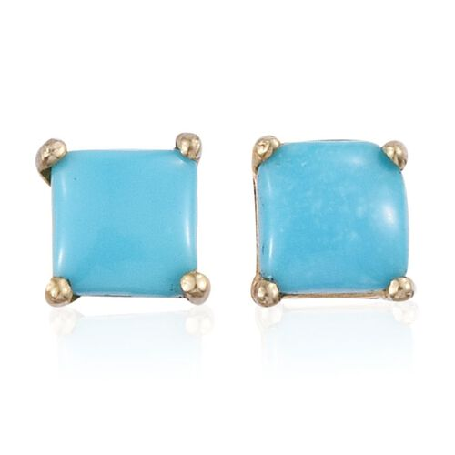 Arizona Sleeping Beauty Turquoise (Sqr) Stud Earrings (with Push Back) in 14K Gold Overlay Sterling Silver 0.750 Ct.