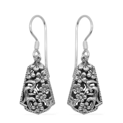 Royal Bali Collection Sterling Silver Floral Hook Earrings, Silver wt 6.20 Gms.