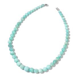 AAA Rare Size Russian Amazonite Beads Necklace (Size 20) with Magnetic Clasp in Rhodium Plated Sterling Silver 350.000 Ct.