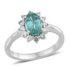 ILIANA 18K W Gold Mozambique Paraiba Tourmaline (Ovl 1.30 Ct), Diamond Ring 1.700 Ct.