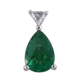 RHAPSODY 950 Platinium 0.75 Carat AAAA Emerald Pendant With Diamond VS E-F