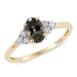9K Y Gold AA Natural Green Tanzanite (Ovl 2.05 Ct), Diamond Ring 2.250 Ct.