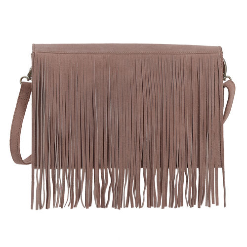 Genuine Leather Dusk Rose Colour Sling Bag with Fringes and Adjustable and Removable Shoulder Strap (Size 28x17x7 Cm)