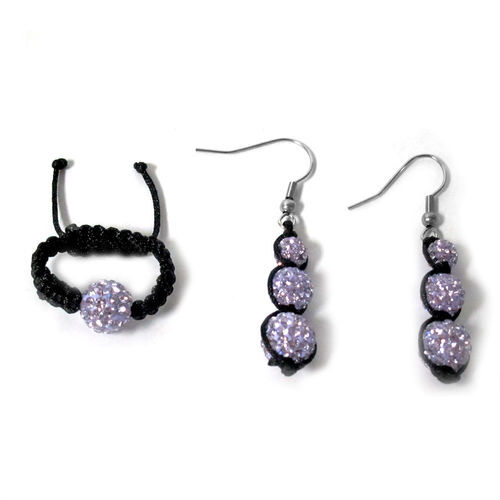 Purple Austrian Crystal Ring (Adjustable) and Earrings with Stainless Steel Hook