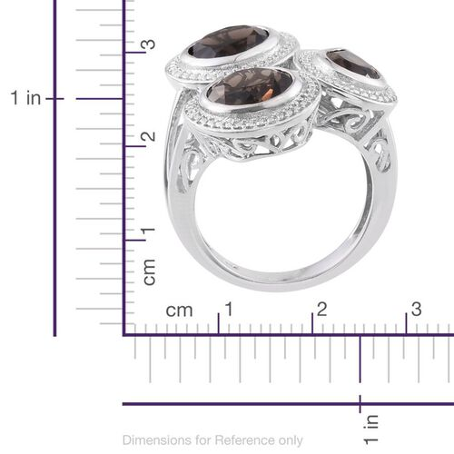 Brazilian Smoky Quartz (Pear 1.10 Ct) Ring in Platinum Overlay Sterling Silver 5.750 Ct.