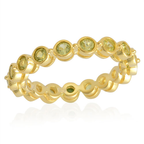 Hebei Peridot (Rnd) Full Eternity Ring in Yellow Gold Overlay Sterling Silver 1.250 Ct.