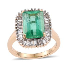 ILIANA 18K Y Gold Boyaca Colombian Emerald (Oct 5.10 Ct), Diamond Ring 6.000 Ct.