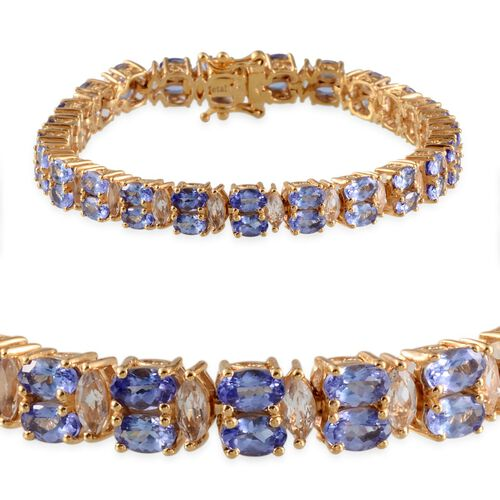 AA Tanzanite (Ovl), White Topaz Bracelet (Size 7) in 14K Gold Overlay Sterling Silver 17.500 Ct.