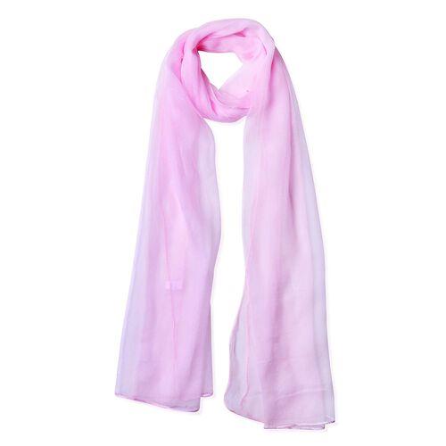 New Season-100% Mulberry Silk Light Pink Colour Scarf (Size 170X70 Cm)