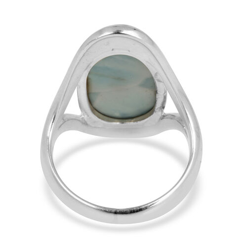 Royal Bali Collection Larimar (Ovl) Solitaire Ring in Sterling Silver 9.280 Ct.