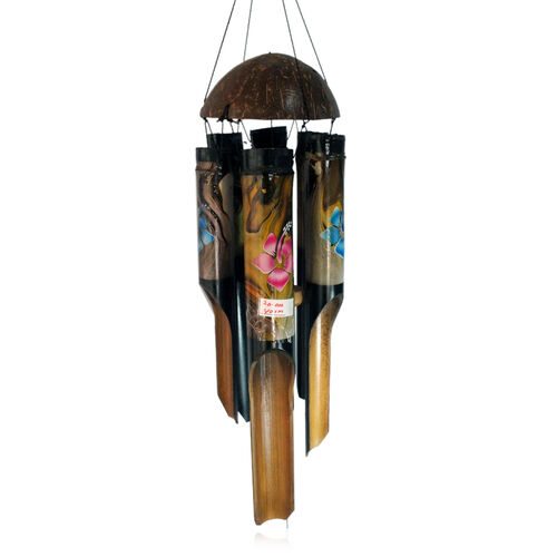 Bali Collection Home Decor - Bamboo Wind Chimes with Coconut Shell On Top (Flower Abstract Painting)