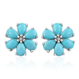 Arizona Sleeping Beauty Turquoise (Pear), Natural Cambodian Zircon Floral Stud Earrings (with Push Back) in Platinum Overlay Sterling Silver 4.500 Ct.