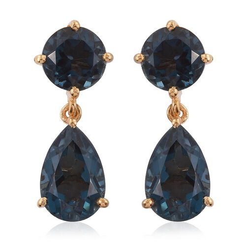 Indicolite Quartz (Pear) Earrings (with Push Back) in 14K Gold Overlay Sterling Silver 12.250 Ct.