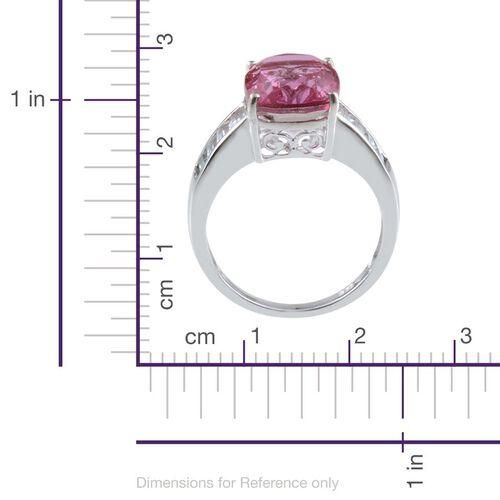 Kunzite Colour Quartz (Cush 6.00 Ct), White Topaz Ring in Platinum Overlay Sterling Silver 7.250 Ct.