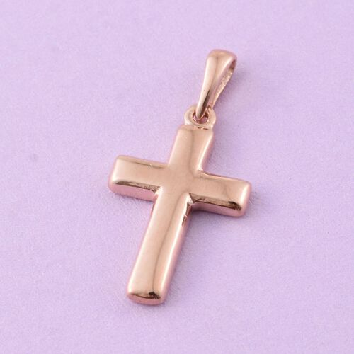 Rose Gold Overlay Sterling Silver Cross Pendant