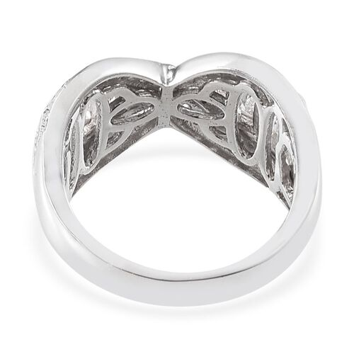 J Francis - Platinum Overlay Sterling Silver (Bgt) Criss Cross Ring Made with SWAROVSKI ZIRCONIA