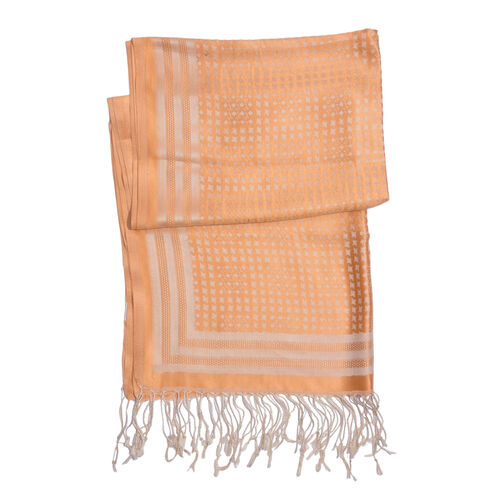 100% Superfine Silk Orange and Off White Colour Floral Pattern Jacquard Jamawar Shawl with Fringes (Size 175x70 Cm) (Weight 140 Grams)