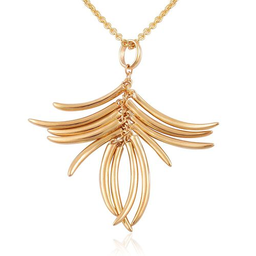 RACHEL GALLEY Yellow Gold Overlay Sterling Silver Molto Pendant With Chain (Size 20), Silver wt 12.95 Gms.