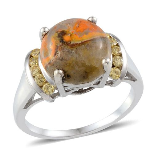 Bumble Bee Jasper (Rnd 5.00 Ct), Yellow Sapphire Ring in Platinum Overlay Sterling Silver 5.400 Ct.