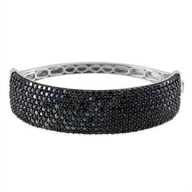 Boi Ploi Black Spinel (Rnd) Bangle (Size 7.5) in Platinum Overlay Sterling Silver 21.250 Ct.